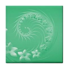 10   Light Green Flowers Ceramic Tile