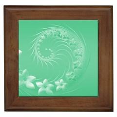 10   Light Green Flowers Framed Ceramic Tile
