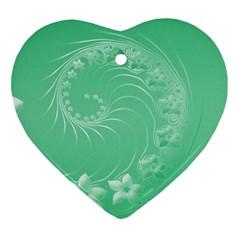 10   Light Green Flowers Heart Ornament
