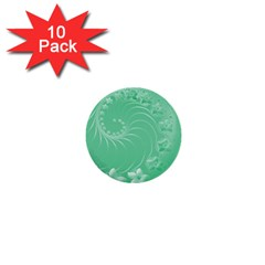10   Light Green Flowers 1  Mini Button (10 Pack)