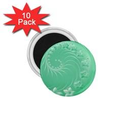 10   Light Green Flowers 1.75  Button Magnet (10 pack)