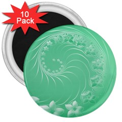 10   Light Green Flowers 3  Button Magnet (10 Pack)