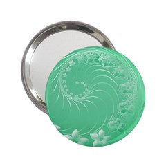 10   Light Green Flowers Handbag Mirror (2.25 )