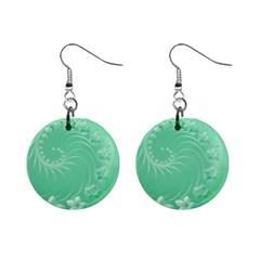 10   Light Green Flowers Mini Button Earrings