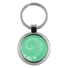 10   Light Green Flowers Key Chain (round)