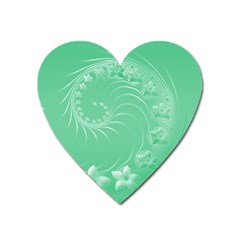 10   Light Green Flowers Magnet (Heart)
