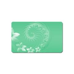10   Light Green Flowers Magnet (Name Card)