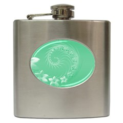 10   Light Green Flowers Hip Flask