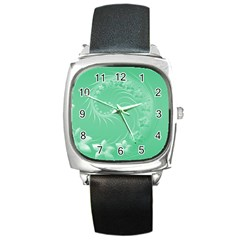 10   Light Green Flowers Square Leather Watch