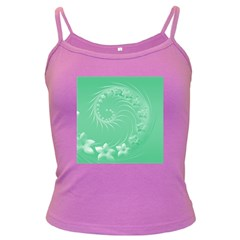 10   Light Green Flowers Spaghetti Top (Colored)