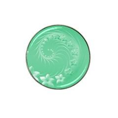 10   Light Green Flowers Golf Ball Marker 4 Pack (for Hat Clip)