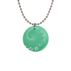10   Light Green Flowers Button Necklace