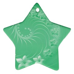 10   Light Green Flowers Star Ornament (two Sides)