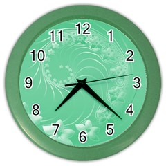 10   Light Green Flowers Wall Clock (color)