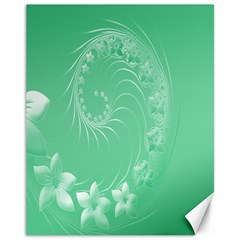 10   Light Green Flowers Canvas 11  x 14  9 (Unframed)