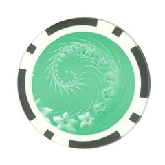 10   Light Green Flowers Poker Chip