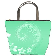 10   Light Green Flowers Bucket Bag