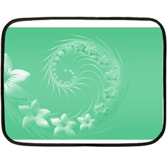 10   Light Green Flowers Mini Fleece Blanket (two Sided)