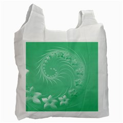 10   Light Green Flowers Recycle Bag (one Side)