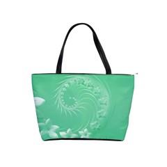 10   Light Green Flowers Large Shoulder Bag