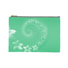 10   Light Green Flowers Cosmetic Bag (large)