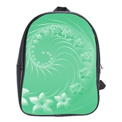 10   Light Green Flowers School Bag (Large)
