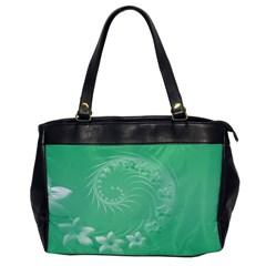 10   Light Green Flowers Oversize Office Handbag (one Side)
