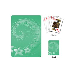 10   Light Green Flowers Playing Cards (Mini)