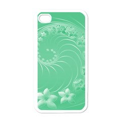 10   Light Green Flowers Apple iPhone 4 Case (White)
