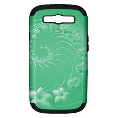 10   Light Green Flowers Samsung Galaxy S III Hardshell Case (PC+Silicone)