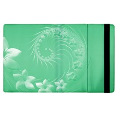 10   Light Green Flowers Apple iPad 2 Flip Case