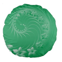 10   Light Green Flowers 18  Premium Round Cushion