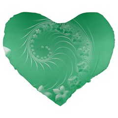 10   Light Green Flowers 19  Premium Heart Shape Cushion