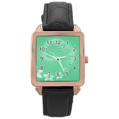 10   Light Green Flowers Rose Gold Leather Watch