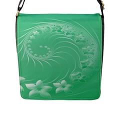 10   Light Green Flowers Flap Closure Messenger Bag (Large)