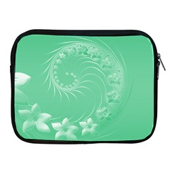 10   Light Green Flowers Apple Ipad 2/3/4 Zipper Case