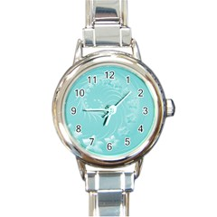 Cyan Abstract Flowers Round Italian Charm Watch