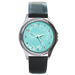 Cyan Abstract Flowers Round Metal Watch (silver Rim)