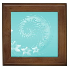 Cyan Abstract Flowers Framed Ceramic Tile
