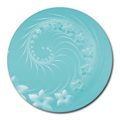 Cyan Abstract Flowers 8  Mouse Pad (Round)