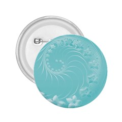 Cyan Abstract Flowers 2.25  Button