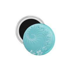 Cyan Abstract Flowers 1 75  Button Magnet