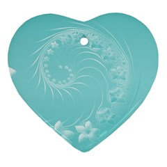 Cyan Abstract Flowers Heart Ornament