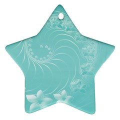 Cyan Abstract Flowers Star Ornament