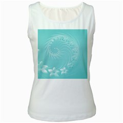 Cyan Abstract Flowers Womens  Tank Top (white)