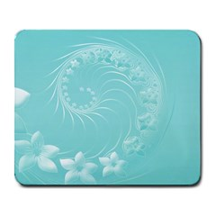 Cyan Abstract Flowers Large Mouse Pad (Rectangle)