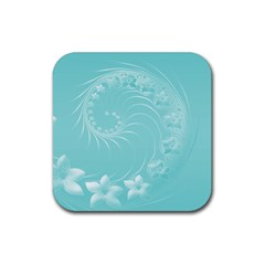 Cyan Abstract Flowers Drink Coaster (Square)