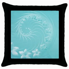 Cyan Abstract Flowers Black Throw Pillow Case