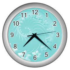 Cyan Abstract Flowers Wall Clock (silver)