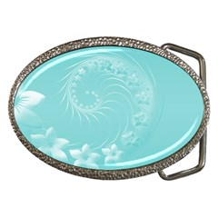 Cyan Abstract Flowers Belt Buckle (Oval)